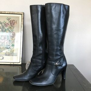 Anne Klein iflex heeled leather square toe boots